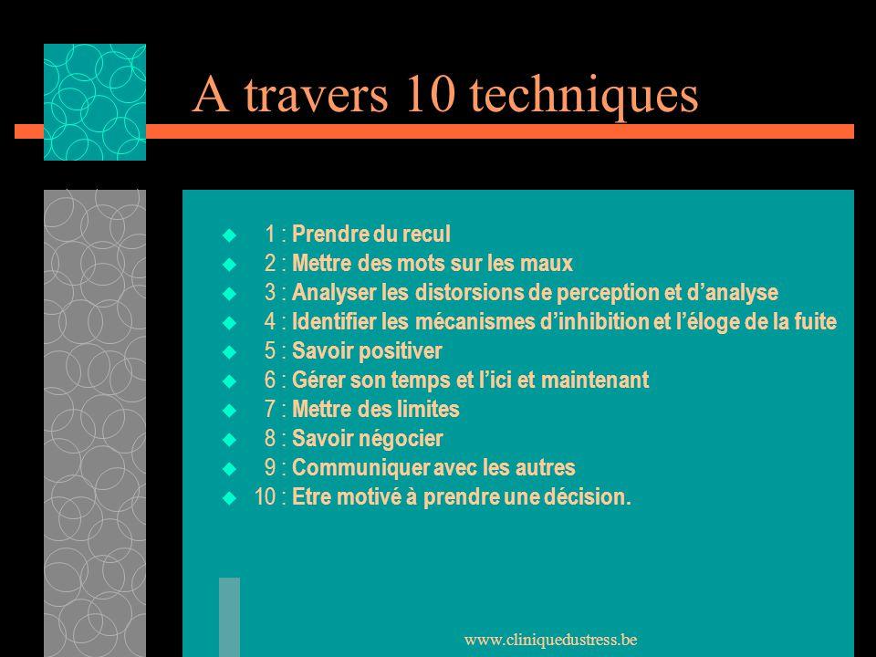 www.cliniquedustress.be A travers 10 techniques 1 : Prendre du recul 2 : Mettre des mots sur les maux 3 : Analyser les distorsions de perception et da