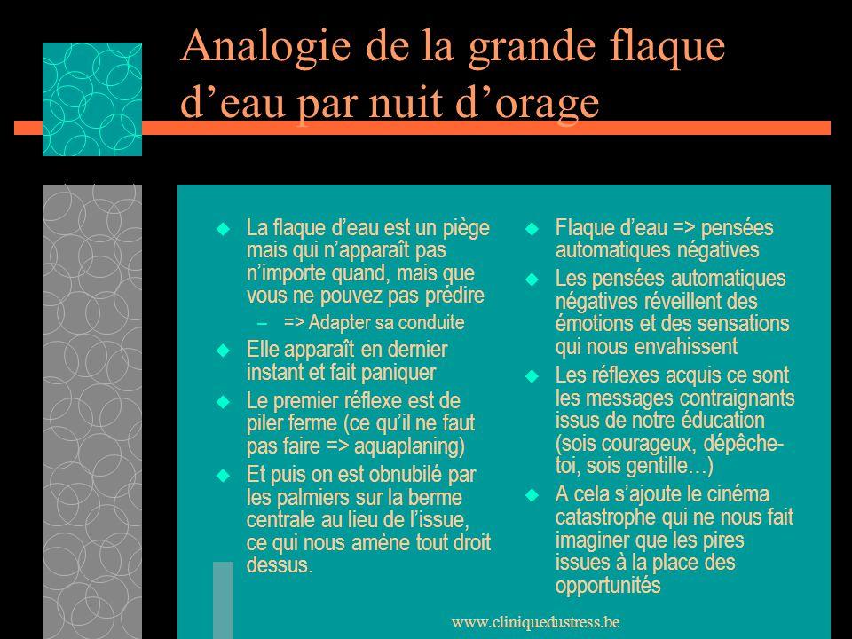 www.cliniquedustress.be Analogie de la grande flaque deau par nuit dorage La flaque deau est un piège mais qui napparaît pas nimporte quand, mais que