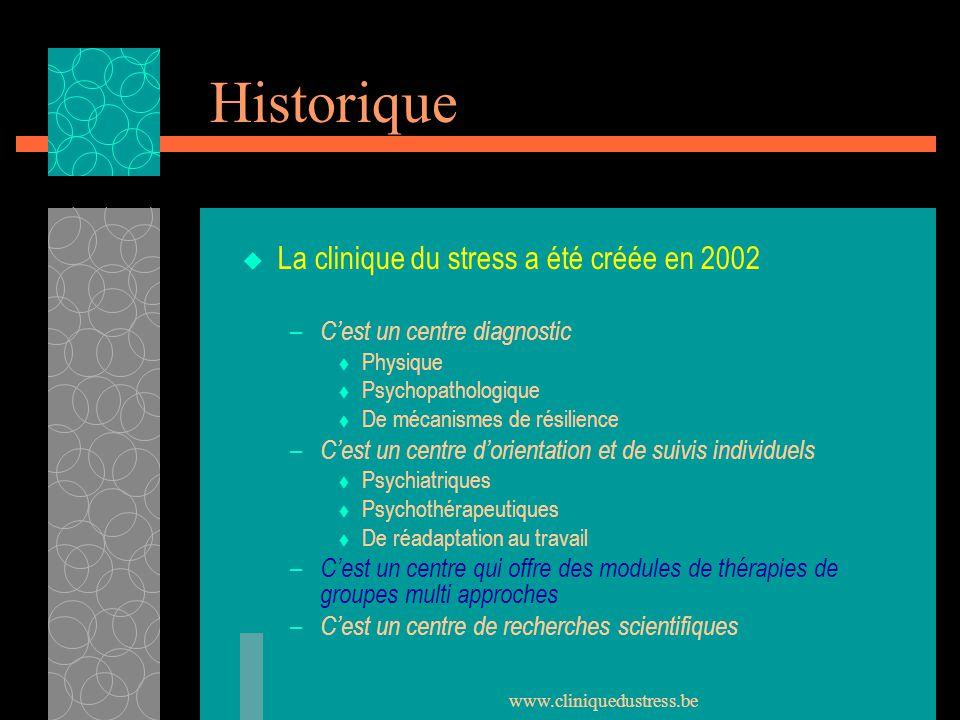 www.cliniquedustress.be Historique La clinique du stress a été créée en 2002 – Cest un centre diagnostic Physique Psychopathologique De mécanismes de