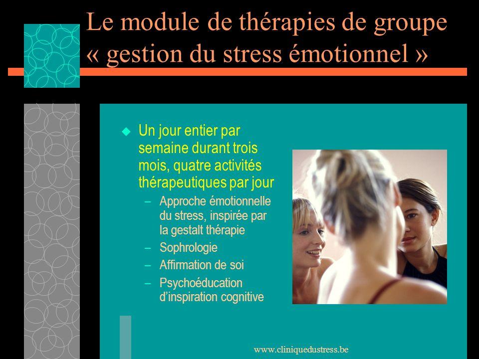 www.cliniquedustress.be Le module de thérapies de groupe « gestion du stress émotionnel » Un jour entier par semaine durant trois mois, quatre activit