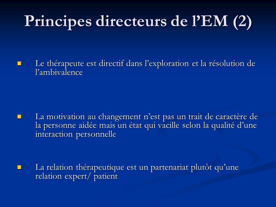Principes directeurs de lEM (2) Le thérapeute est directif dans lexploration et la résolution de lambivalence Le thérapeute est directif dans lexplora