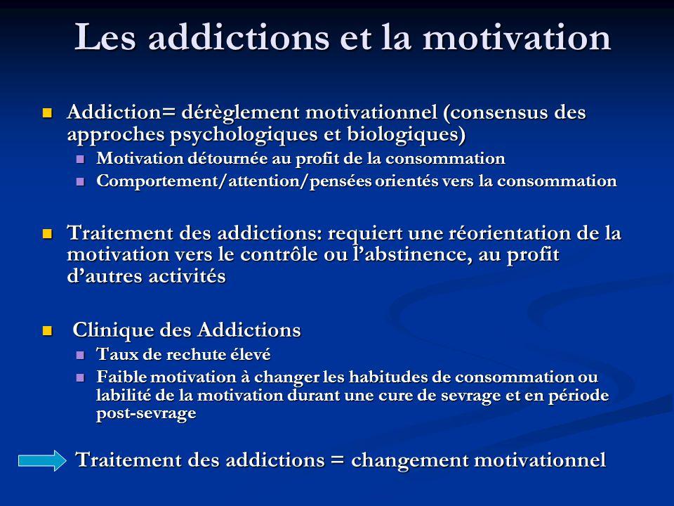 Les addictions et la motivation Addiction= dérèglement motivationnel (consensus des approches psychologiques et biologiques) Addiction= dérèglement motivationnel (consensus des approches psychologiques et biologiques) Motivation détournée au profit de la consommation Motivation détournée au profit de la consommation Comportement/attention/pensées orientés vers la consommation Comportement/attention/pensées orientés vers la consommation Traitement des addictions: requiert une réorientation de la motivation vers le contrôle ou labstinence, au profit dautres activités Traitement des addictions: requiert une réorientation de la motivation vers le contrôle ou labstinence, au profit dautres activités Clinique des Addictions Clinique des Addictions Taux de rechute élevé Taux de rechute élevé Faible motivation à changer les habitudes de consommation ou labilité de la motivation durant une cure de sevrage et en période post-sevrage Faible motivation à changer les habitudes de consommation ou labilité de la motivation durant une cure de sevrage et en période post-sevrage Traitement des addictions = changement motivationnel