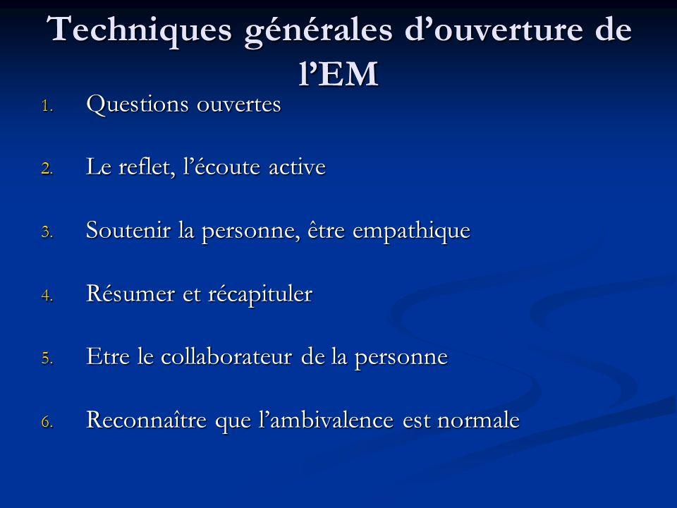 Techniques générales douverture de lEM 1. Questions ouvertes 2. Le reflet, lécoute active 3. Soutenir la personne, être empathique 4. Résumer et récap