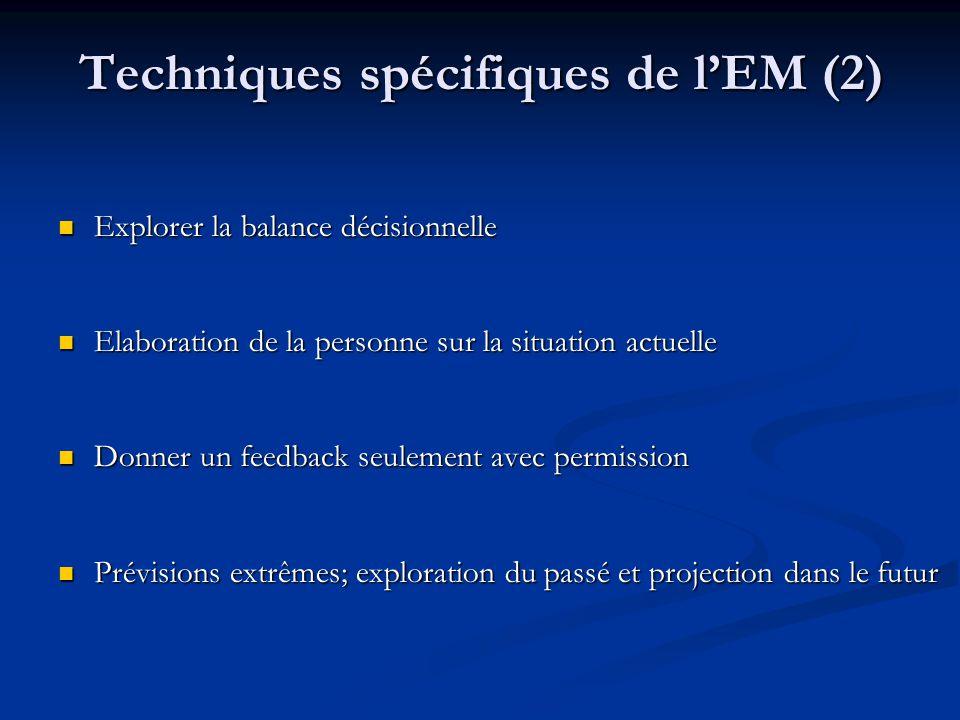 Techniques spécifiques de lEM (2) Explorer la balance décisionnelle Explorer la balance décisionnelle Elaboration de la personne sur la situation actu