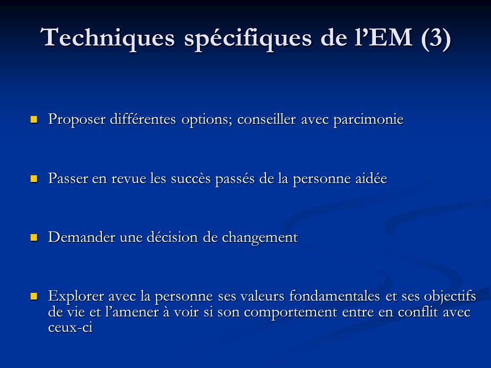 Techniques spécifiques de lEM (3) Proposer différentes options; conseiller avec parcimonie Proposer différentes options; conseiller avec parcimonie Pa