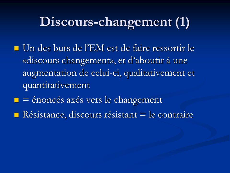 Discours-changement (1) Un des buts de lEM est de faire ressortir le «discours changement», et daboutir à une augmentation de celui-ci, qualitativemen