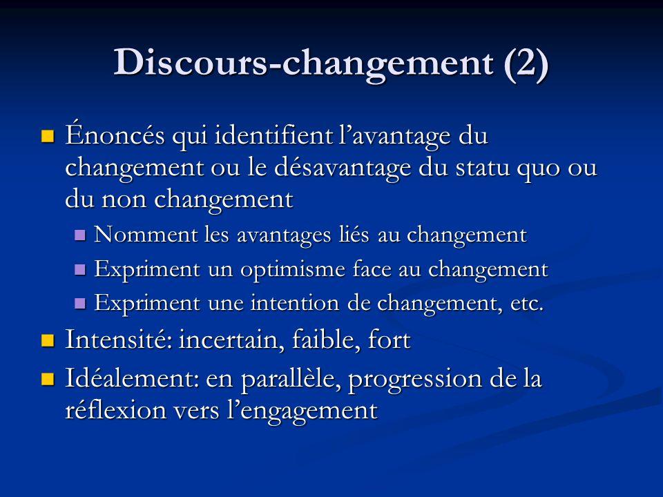 Discours-changement (2) Énoncés qui identifient lavantage du changement ou le désavantage du statu quo ou du non changement Énoncés qui identifient la