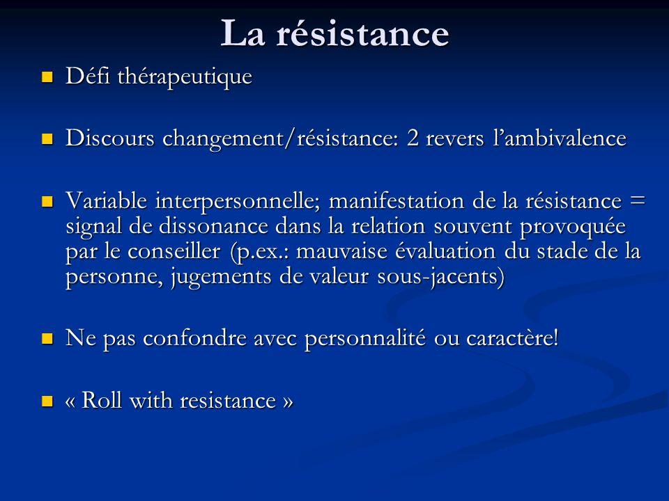 La résistance Défi thérapeutique Défi thérapeutique Discours changement/résistance: 2 revers lambivalence Discours changement/résistance: 2 revers lam