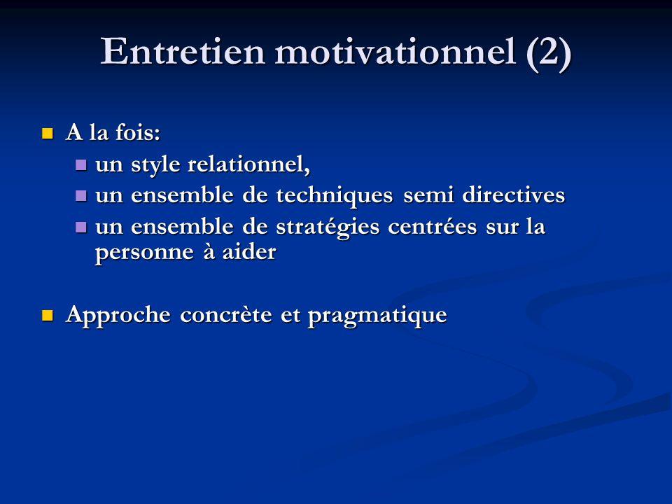 Entretien motivationnel (2) A la fois: A la fois: un style relationnel, un style relationnel, un ensemble de techniques semi directives un ensemble de