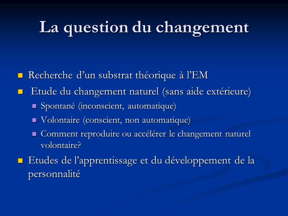 La question du changement Recherche dun substrat théorique à lEM Recherche dun substrat théorique à lEM Etude du changement naturel (sans aide extérie