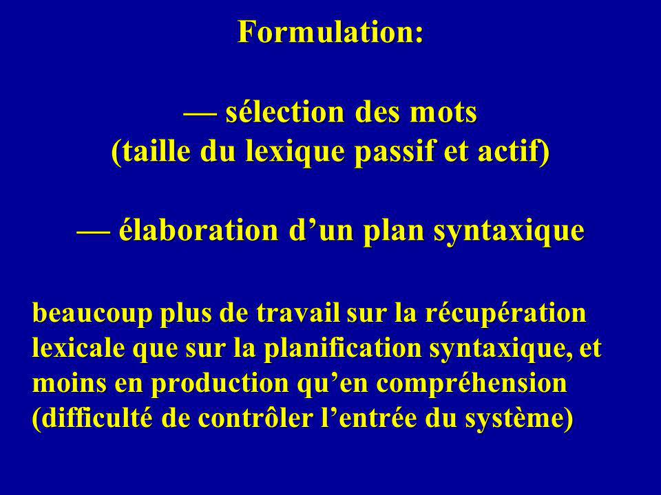 Formulation: sélection des mots (taille du lexique passif et actif) élaboration dun plan syntaxique beaucoup plus de travail sur la récupération lexicale que sur la planification syntaxique, et moins en production quen compréhension (difficulté de contrôler lentrée du système)