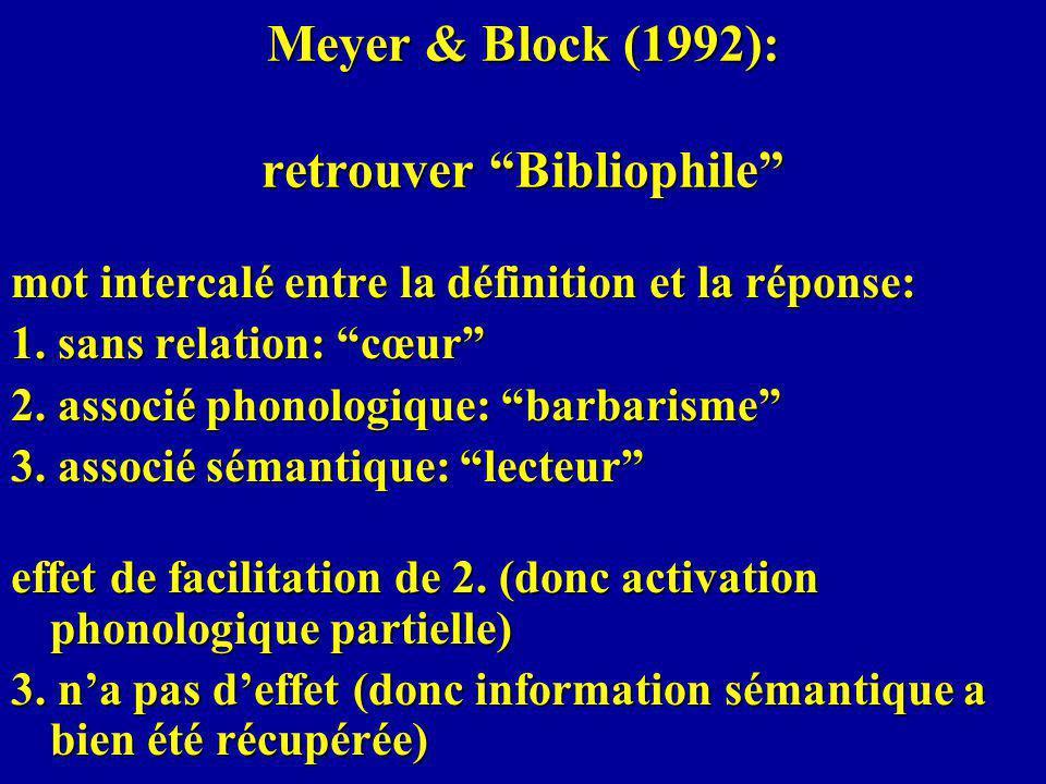 Meyer & Block (1992): retrouver Bibliophile mot intercalé entre la définition et la réponse: 1.