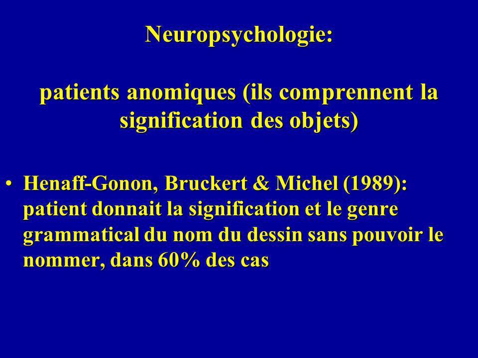 Neuropsychologie: patients anomiques (ils comprennent la signification des objets) Henaff-Gonon, Bruckert & Michel (1989): patient donnait la signification et le genre grammatical du nom du dessin sans pouvoir le nommer, dans 60% des casHenaff-Gonon, Bruckert & Michel (1989): patient donnait la signification et le genre grammatical du nom du dessin sans pouvoir le nommer, dans 60% des cas