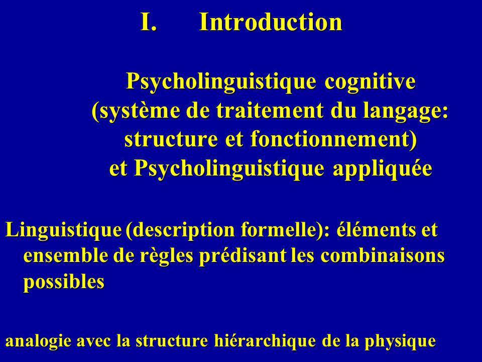 Relations avec la psychologie cognitive (perception, attention, mémoire, apprentissage…) et avec la neuropsychologie techniques de la psychologie cognitive expérimentale: par ex., habituation- déshabituation, amorçage...