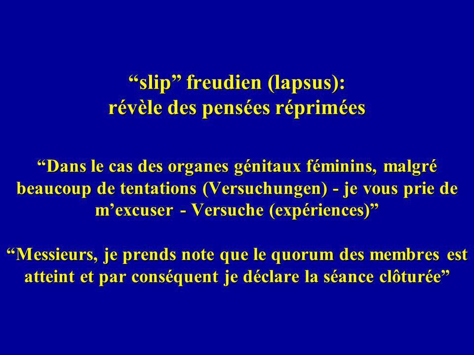 slip freudien (lapsus): révèle des pensées réprimées Dans le cas des organes génitaux féminins, malgré beaucoup de tentations (Versuchungen) - je vous prie de mexcuser - Versuche (expériences) Messieurs, je prends note que le quorum des membres est atteint et par conséquent je déclare la séance clôturée