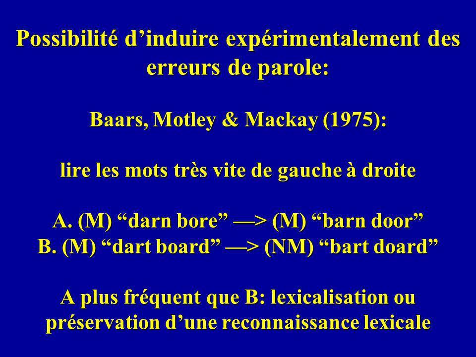 Possibilité dinduire expérimentalement des erreurs de parole: Baars, Motley & Mackay (1975): lire les mots très vite de gauche à droite A.