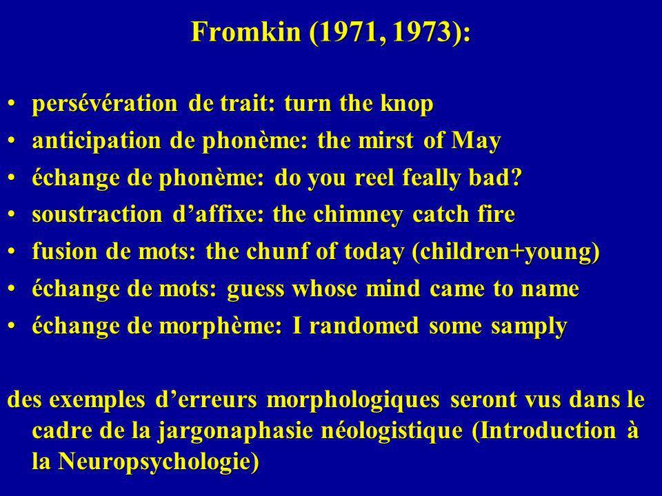 Fromkin (1971, 1973): persévération de trait: turn the knoppersévération de trait: turn the knop anticipation de phonème: the mirst of Mayanticipation de phonème: the mirst of May échange de phonème: do you reel feally bad?échange de phonème: do you reel feally bad.