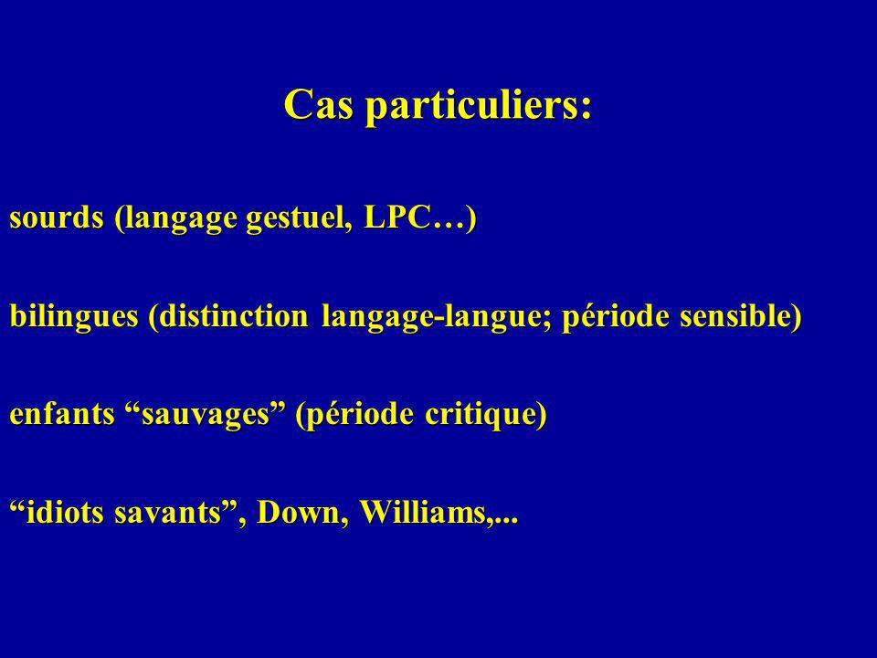 Cas particuliers: sourds (langage gestuel, LPC…) bilingues (distinction langage-langue; période sensible) enfants sauvages (période critique) idiots savants, Down, Williams,...