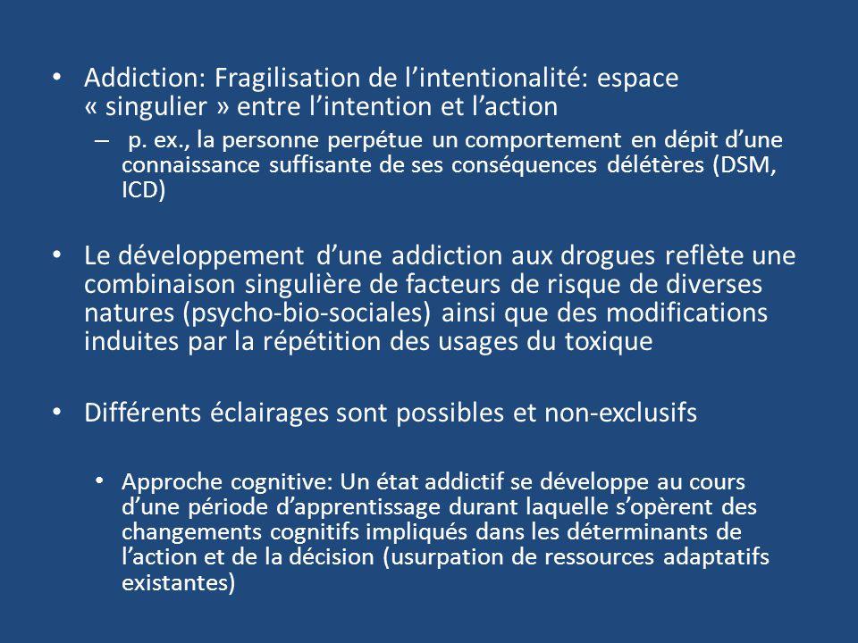 Addiction: Fragilisation de lintentionalité: espace « singulier » entre lintention et laction – p. ex., la personne perpétue un comportement en dépit