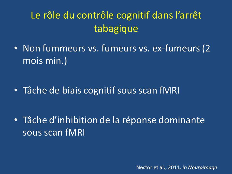 Le rôle du contrôle cognitif dans larrêt tabagique Non fummeurs vs. fumeurs vs. ex-fumeurs (2 mois min.) Tâche de biais cognitif sous scan fMRI Tâche