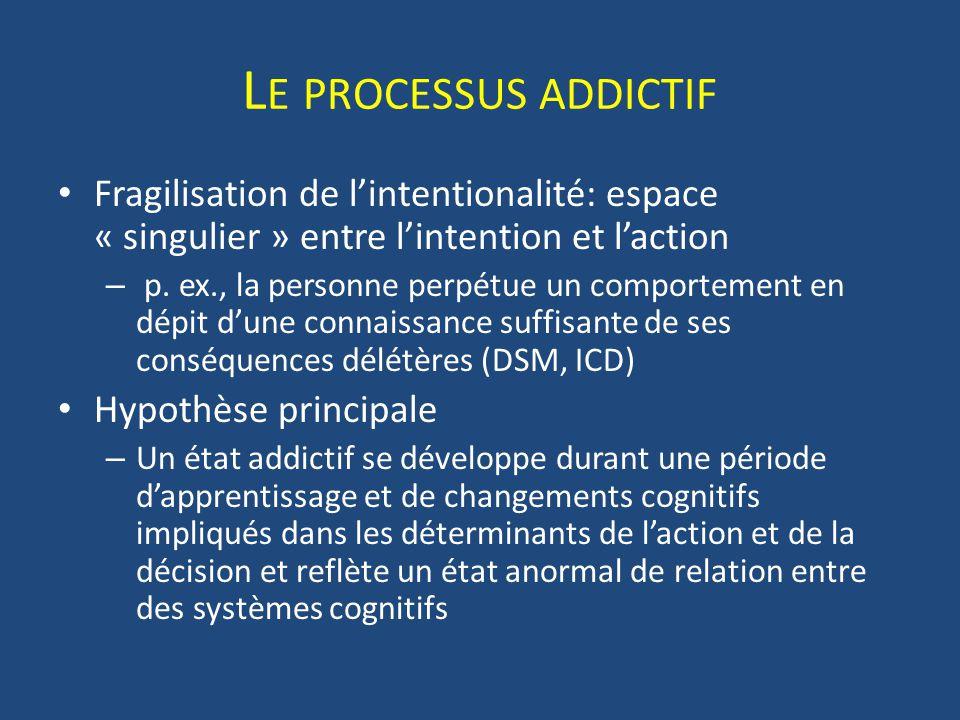 L E PROCESSUS ADDICTIF Fragilisation de lintentionalité: espace « singulier » entre lintention et laction – p. ex., la personne perpétue un comporteme