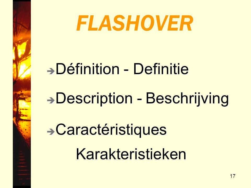 17 FLASHOVER è Description - Beschrijving è Caractéristiques Karakteristieken Karakteristieken è Définition - Definitie