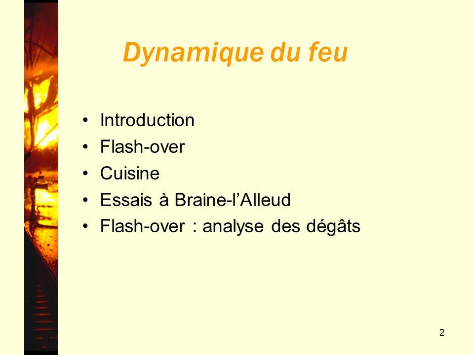 43 Dynamique du feu Introduction Flash-over Cuisine Essais à Braine-lAlleud Flash-over : analyse des dégâts