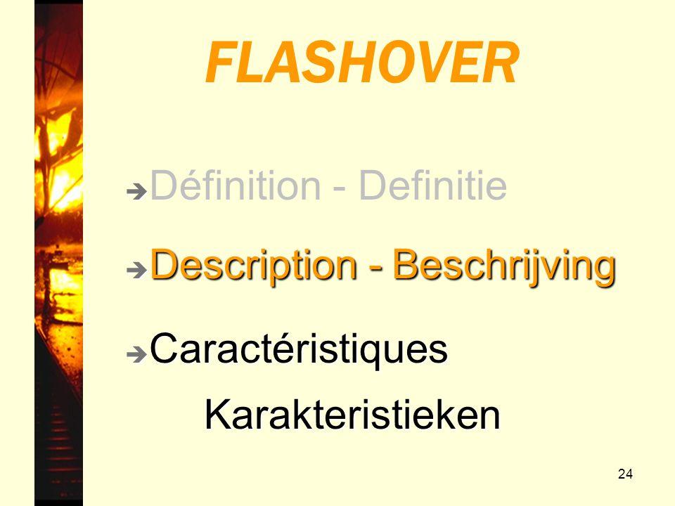 24 FLASHOVER è Description - Beschrijving è Caractéristiques Karakteristieken Karakteristieken è è Définition - Definitie