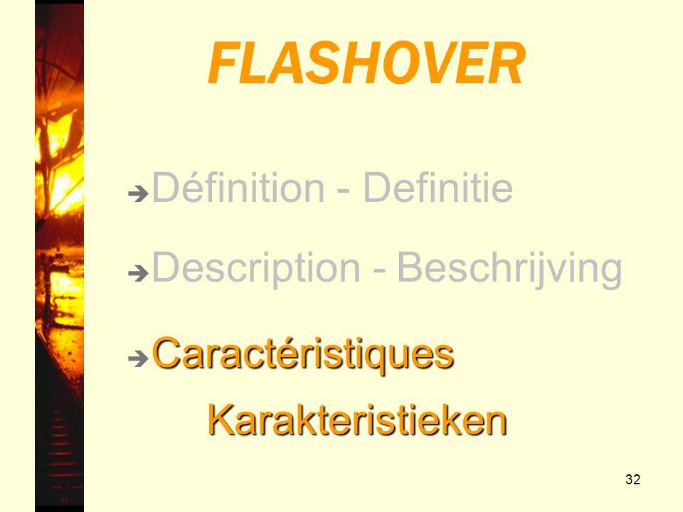 32 FLASHOVER è è Description - Beschrijving è Caractéristiques Karakteristieken Karakteristieken è è Définition - Definitie