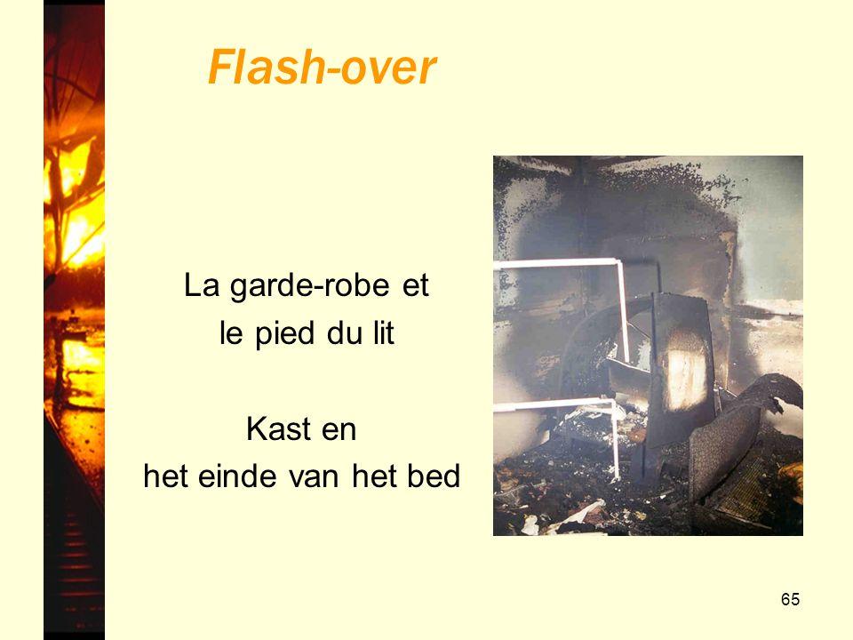 65 La garde-robe et le pied du lit Kast en het einde van het bed Flash-over