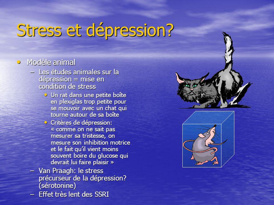 Modèle animal Modèle animal –Les études animales sur la dépression = mise en condition de stress Un rat dans une petite boîte en plexiglas trop petite