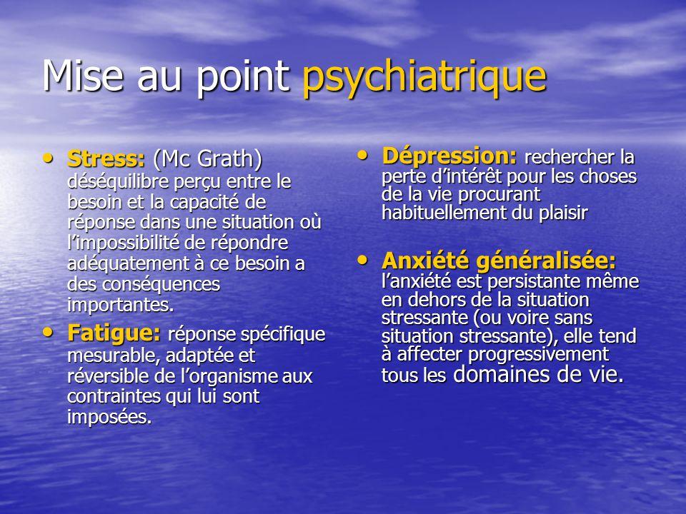 Mise au point psychiatrique Stress: (Mc Grath) déséquilibre perçu entre le besoin et la capacité de réponse dans une situation où limpossibilité de ré