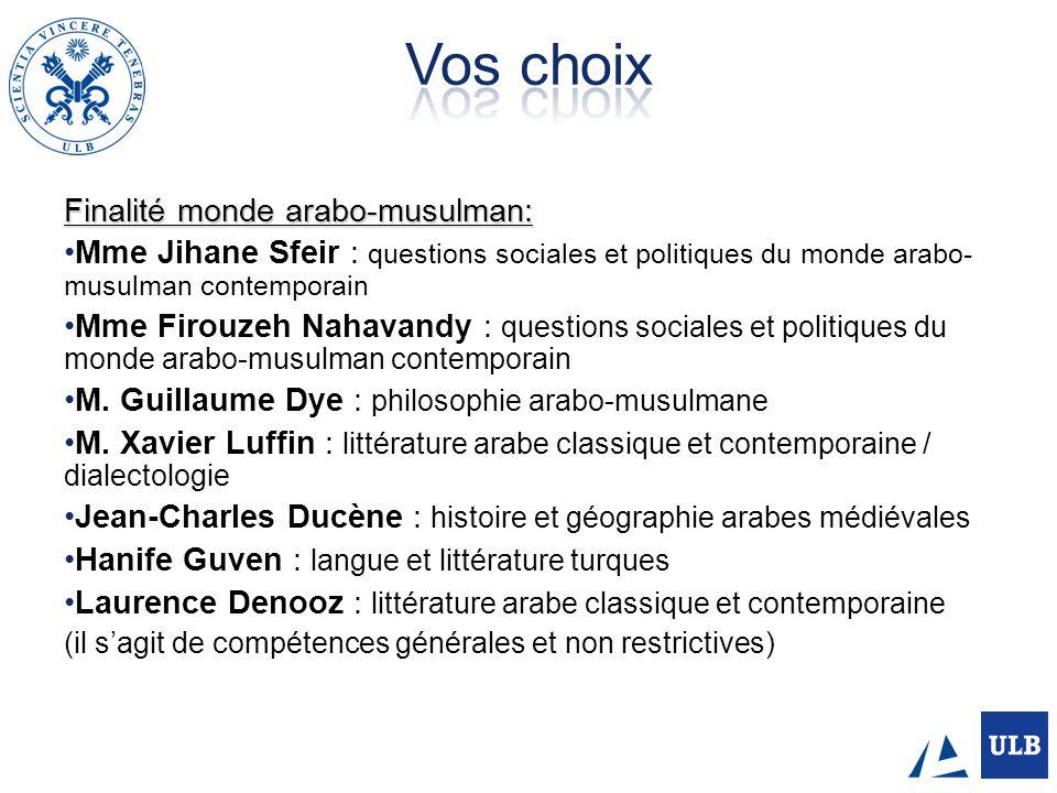 Finalité monde arabo-musulman: Mme Jihane Sfeir : questions sociales et politiques du monde arabo- musulman contemporain Mme Firouzeh Nahavandy : ques