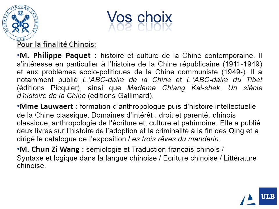 Pour la finalité Chinois: M. Philippe Paquet : histoire et culture de la Chine contemporaine. Il sintéresse en particulier à lhistoire de la Chine rép