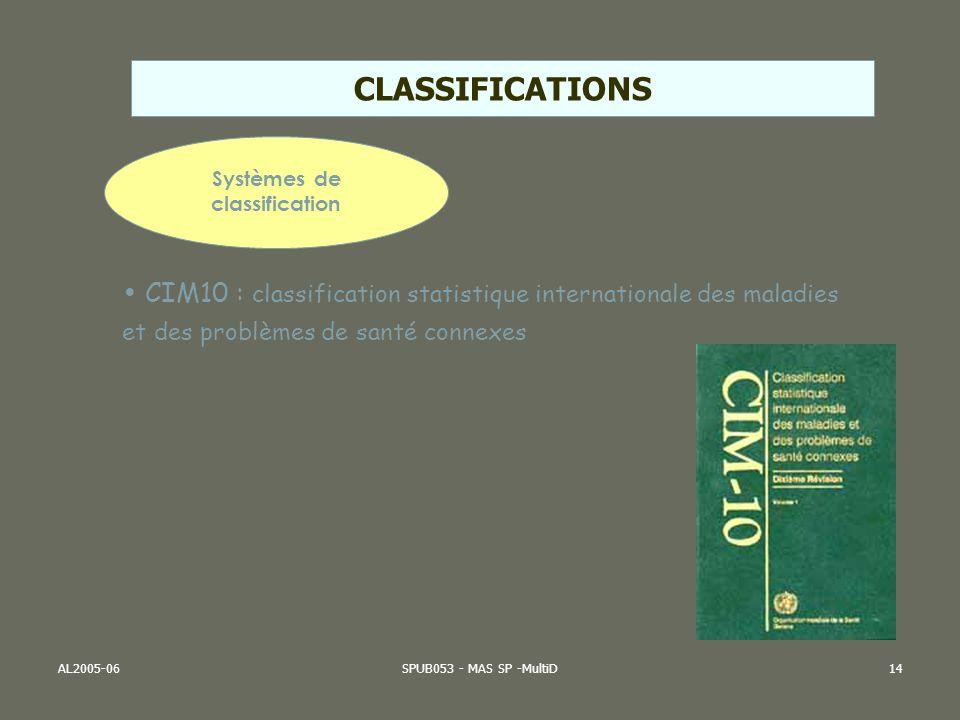 AL2005-06SPUB053 - MAS SP -MultiD14 Systèmes de classification CIM10 : classification statistique internationale des maladies et des problèmes de sant