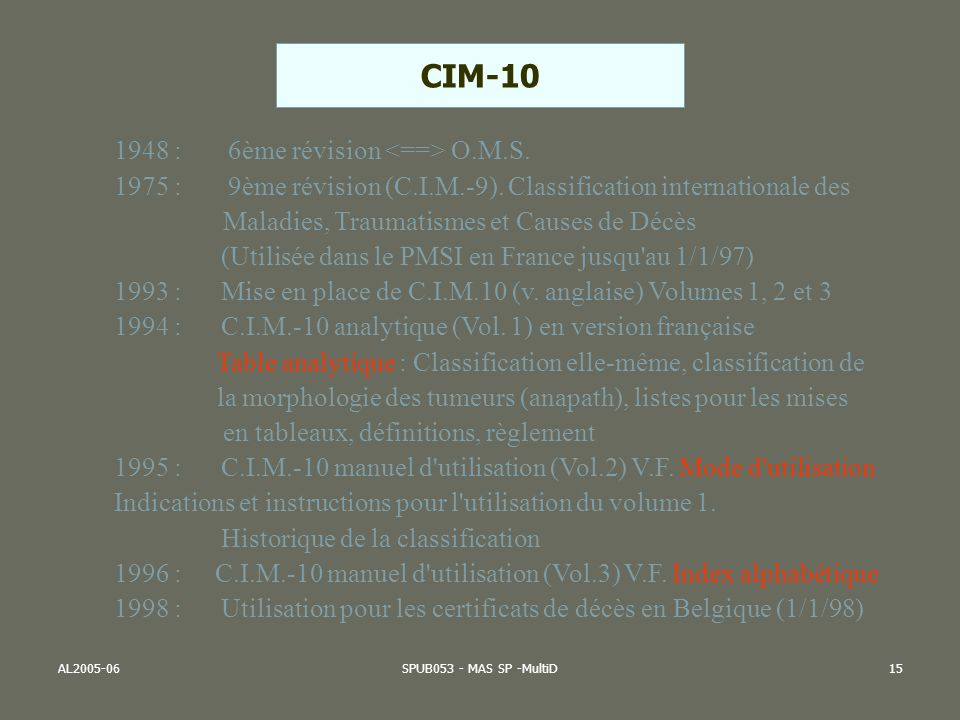AL2005-06SPUB053 - MAS SP -MultiD15 1948 : 6ème révision O.M.S. 1975 : 9ème révision (C.I.M.-9). Classification internationale des Maladies, Traumatis