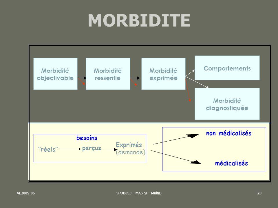 AL2005-06SPUB053 - MAS SP -MultiD23 MORBIDITE besoins réels perçus non médicalisés Exprimés (demande) médicalisés Comportements Morbidité diagnostiqué