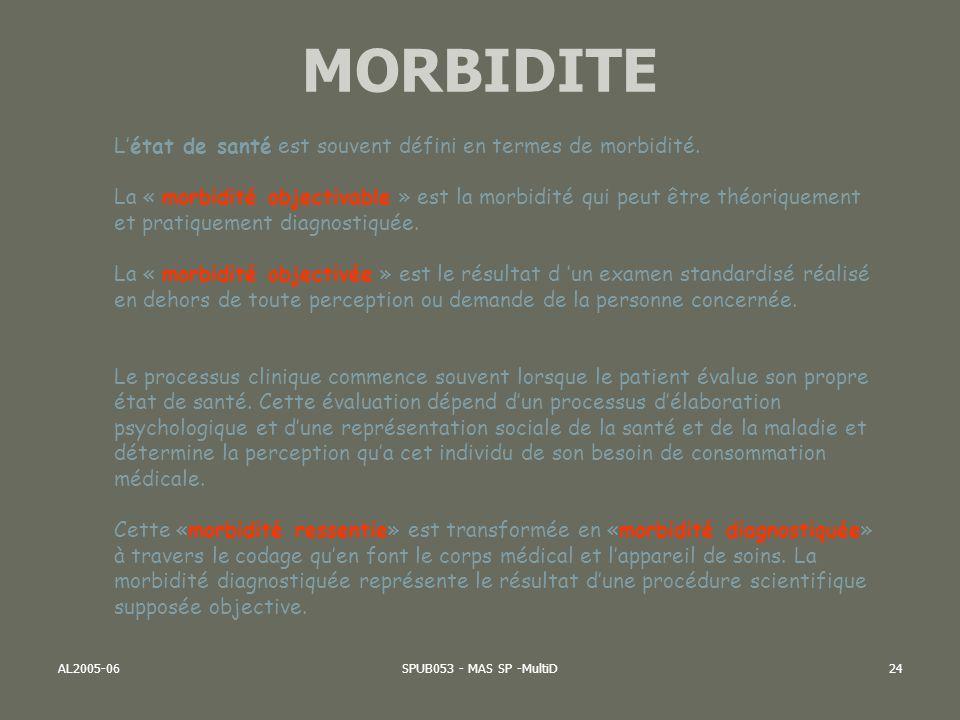 AL2005-06SPUB053 - MAS SP -MultiD24 Létat de santé est souvent défini en termes de morbidité. La « morbidité objectivable » est la morbidité qui peut