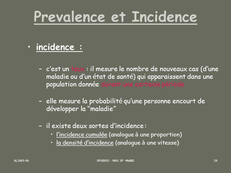 AL2005-06SPUB053 - MAS SP -MultiD29 incidence : –c est un taux : il mesure le nombre de nouveaux cas (d une maladie ou d un é tat de sant é ) qui appa
