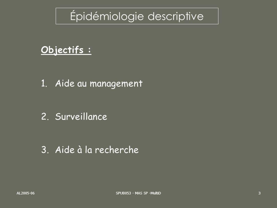 AL2005-06SPUB053 - MAS SP -MultiD3 Épidémiologie descriptive Objectifs : 1.Aide au management 2.Surveillance 3.Aide à la recherche