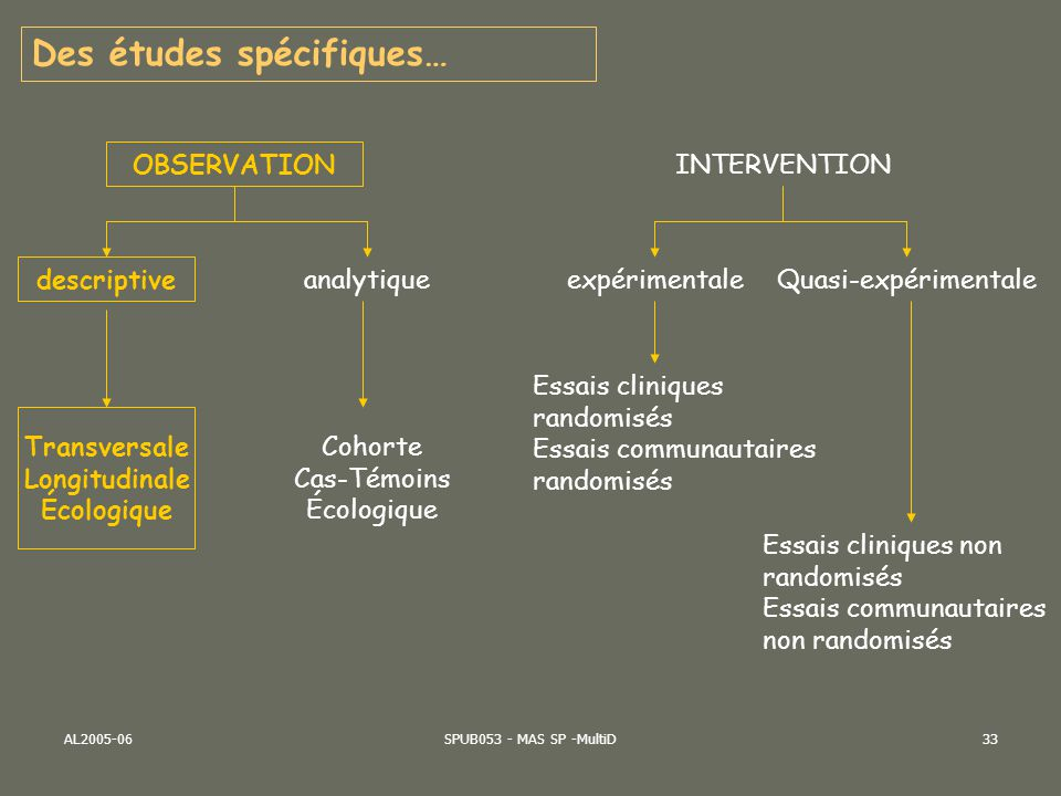 AL2005-06SPUB053 - MAS SP -MultiD33 OBSERVATION INTERVENTION descriptive analytique Transversale Longitudinale Écologique Cohorte Cas-Témoins Écologiq
