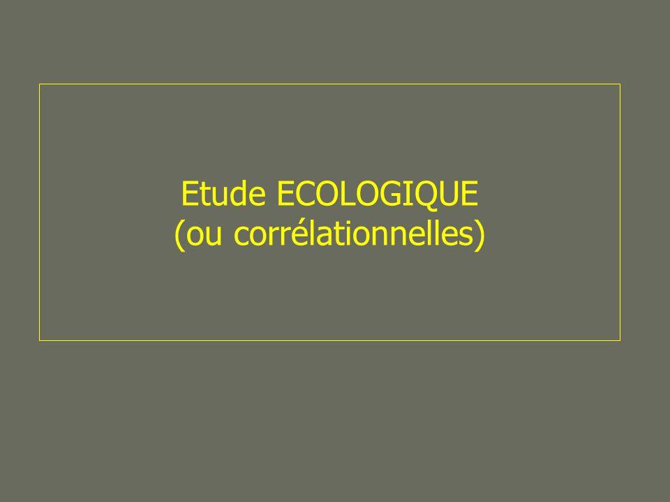Etude ECOLOGIQUE (ou corrélationnelles)