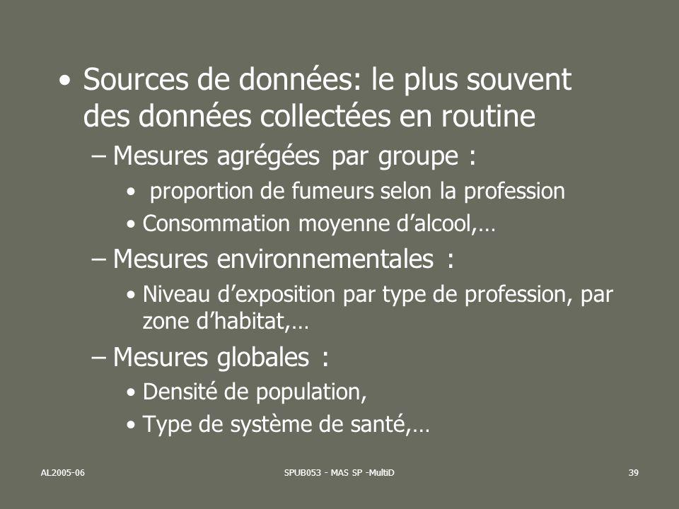 AL2005-06SPUB053 - MAS SP -MultiD39 Sources de données: le plus souvent des données collectées en routine –Mesures agrégées par groupe : proportion de