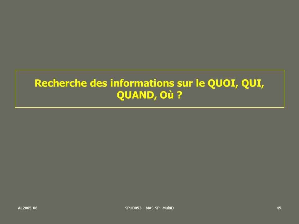 AL2005-06SPUB053 - MAS SP -MultiD45 Recherche des informations sur le QUOI, QUI, QUAND, Où ?
