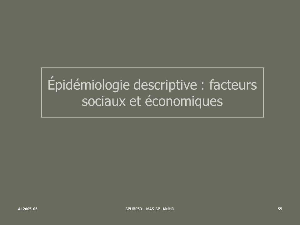 AL2005-06SPUB053 - MAS SP -MultiD55 Épidémiologie descriptive : facteurs sociaux et économiques