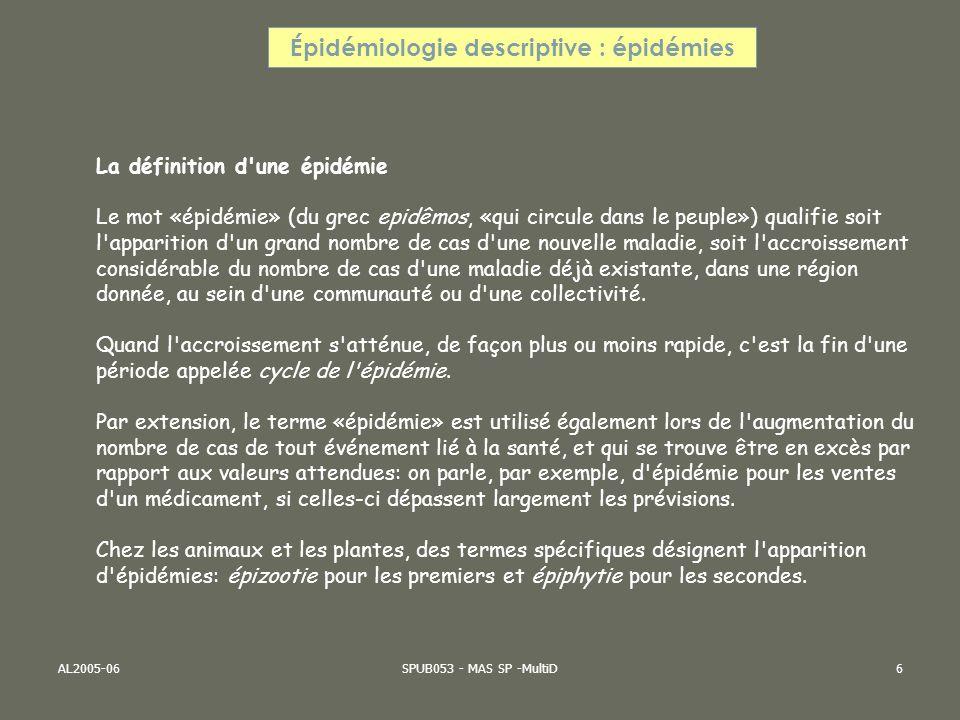 AL2005-06SPUB053 - MAS SP -MultiD6 Épidémiologie descriptive : épidémies La définition d'une épidémie Le mot «épidémie» (du grec epidêmos, «qui circul