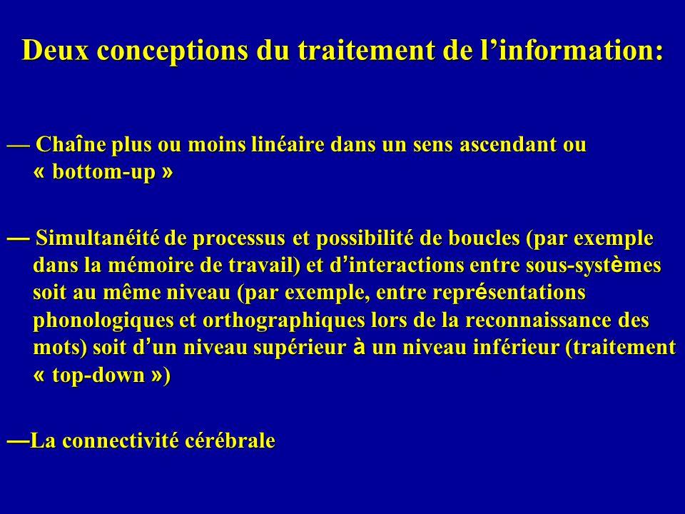 Deux conceptions du traitement de linformation: Cha î ne plus ou moins linéaire dans un sens ascendant ou « bottom-up » Cha î ne plus ou moins linéair