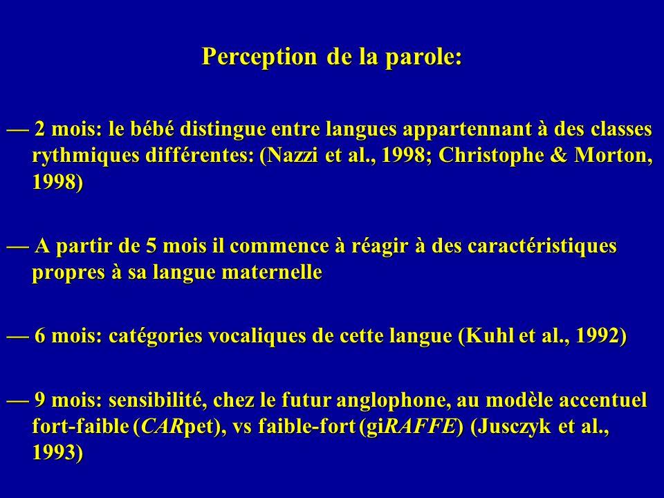 Perception de la parole: 2 mois: le bébé distingue entre langues appartennant à des classes rythmiques différentes: (Nazzi et al., 1998; Christophe &