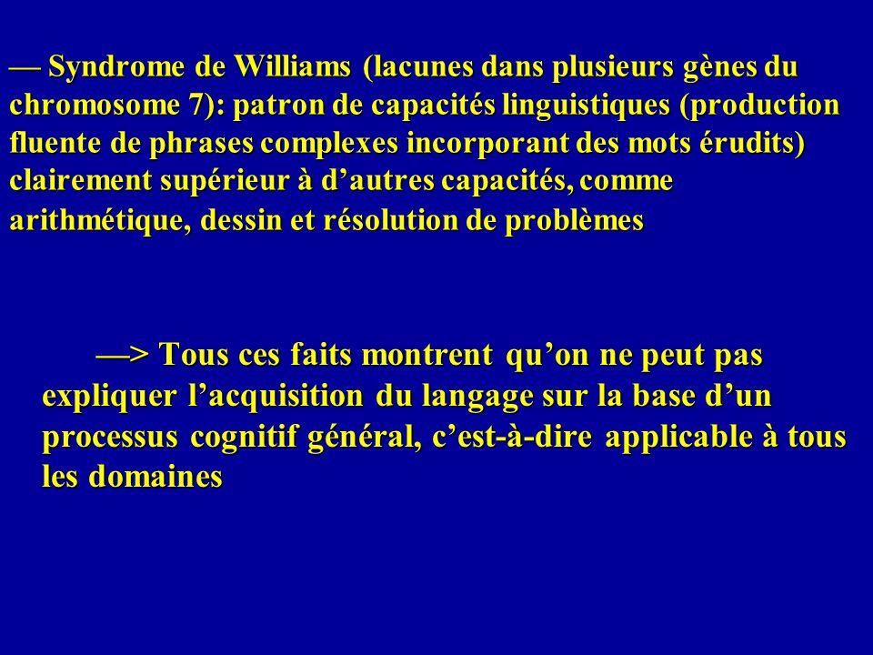 Syndrome de Williams (lacunes dans plusieurs gènes du chromosome 7): patron de capacités linguistiques (production fluente de phrases complexes incorp