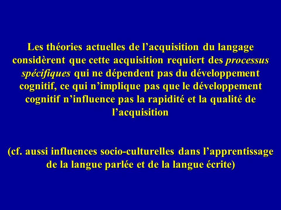 Les théories actuelles de lacquisition du langage considèrent que cette acquisition requiert des processus spécifiques qui ne dépendent pas du dévelop